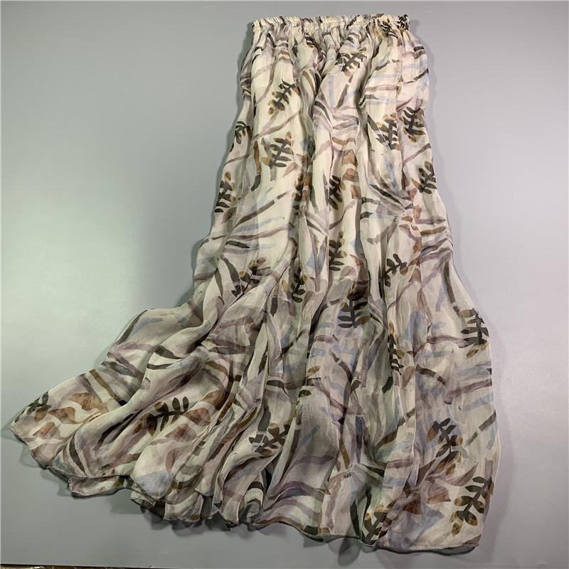 桑蚕丝沙滩半身裙欧洲站100%长裙真丝裙波西米亚BSQ11#