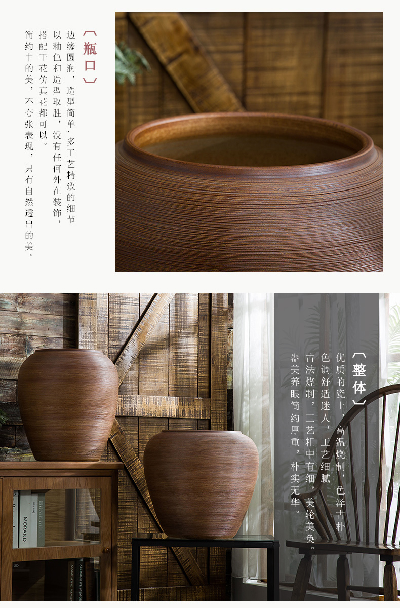 Jingdezhen ceramic floor large vases, flower arrangement sitting room dry flower is placed Chinese style restoring ancient ways is checking pottery flowerpot