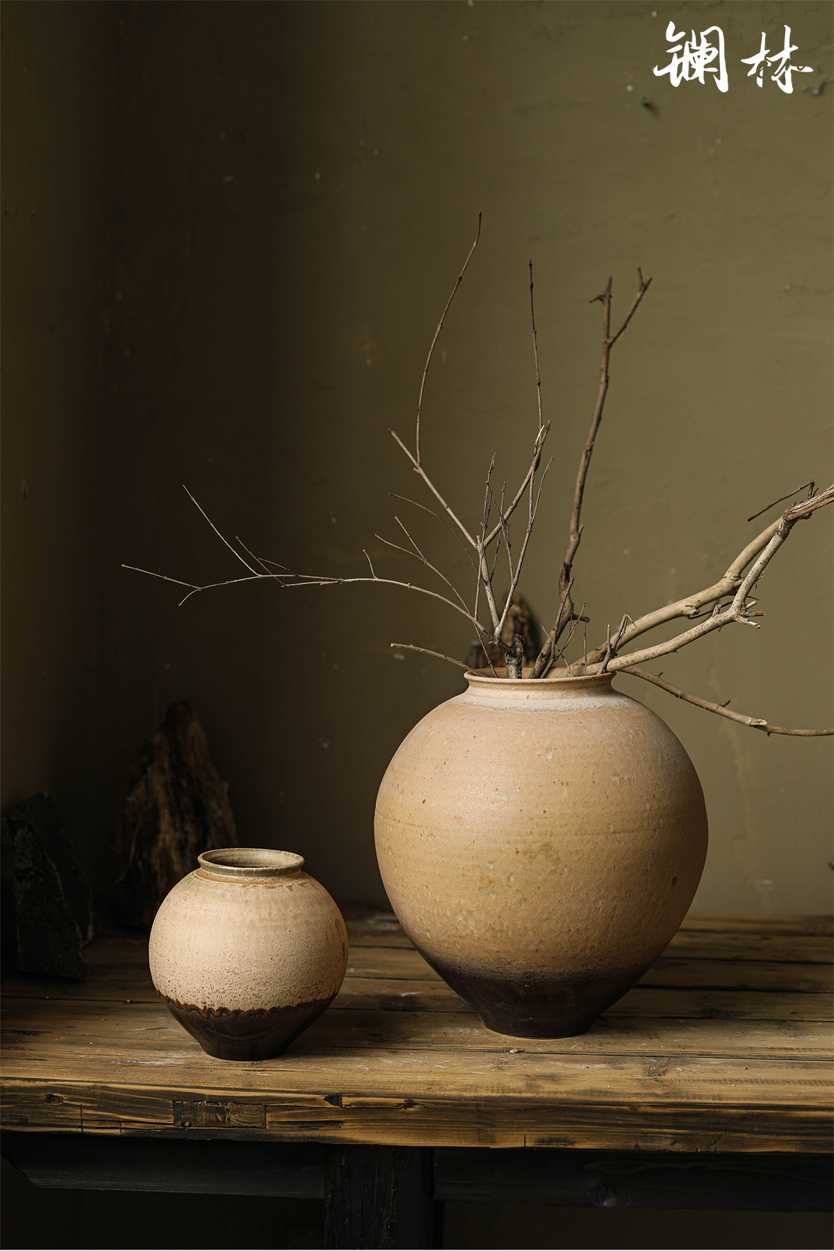 Lanthanum Lin zen coarse pottery checking art ceramic vases, interior decoration, decoration retro pottery flower arranging place of home stay facility