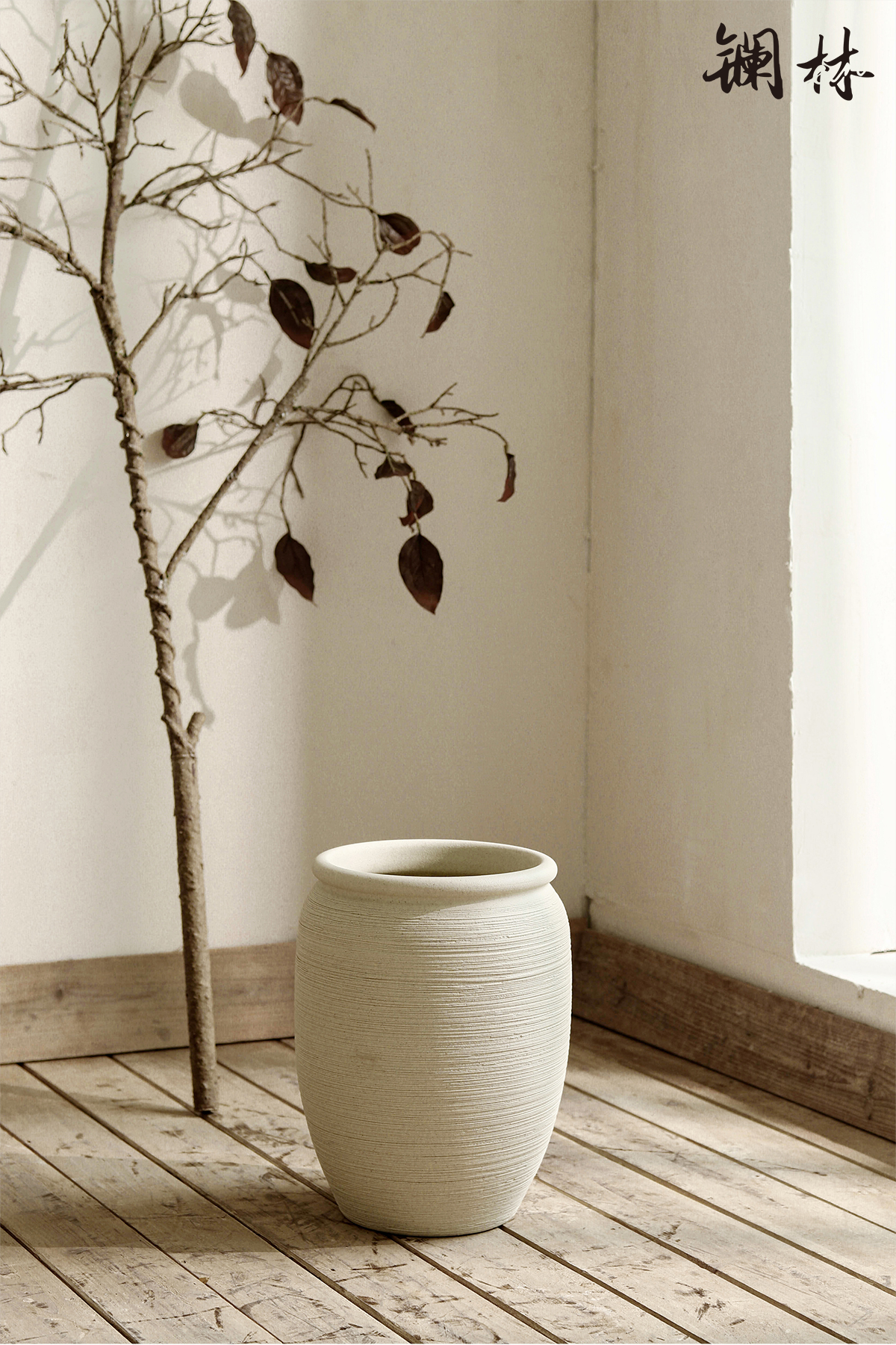 New Chinese style is contracted ceramic floor vases, flower arrangement sitting room branch bed coarse pottery decorative furnishing articles be born of a home stay facility