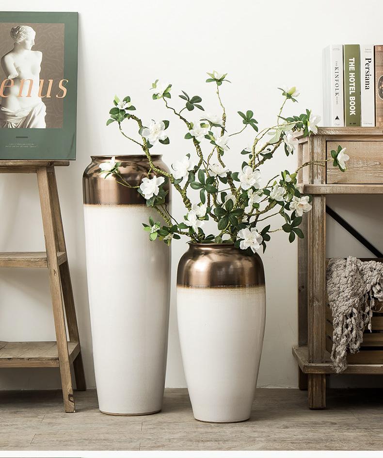 Jingdezhen ceramic vase landing, the sitting room porch decorate place large Nordic hotel villa dry flower decoration