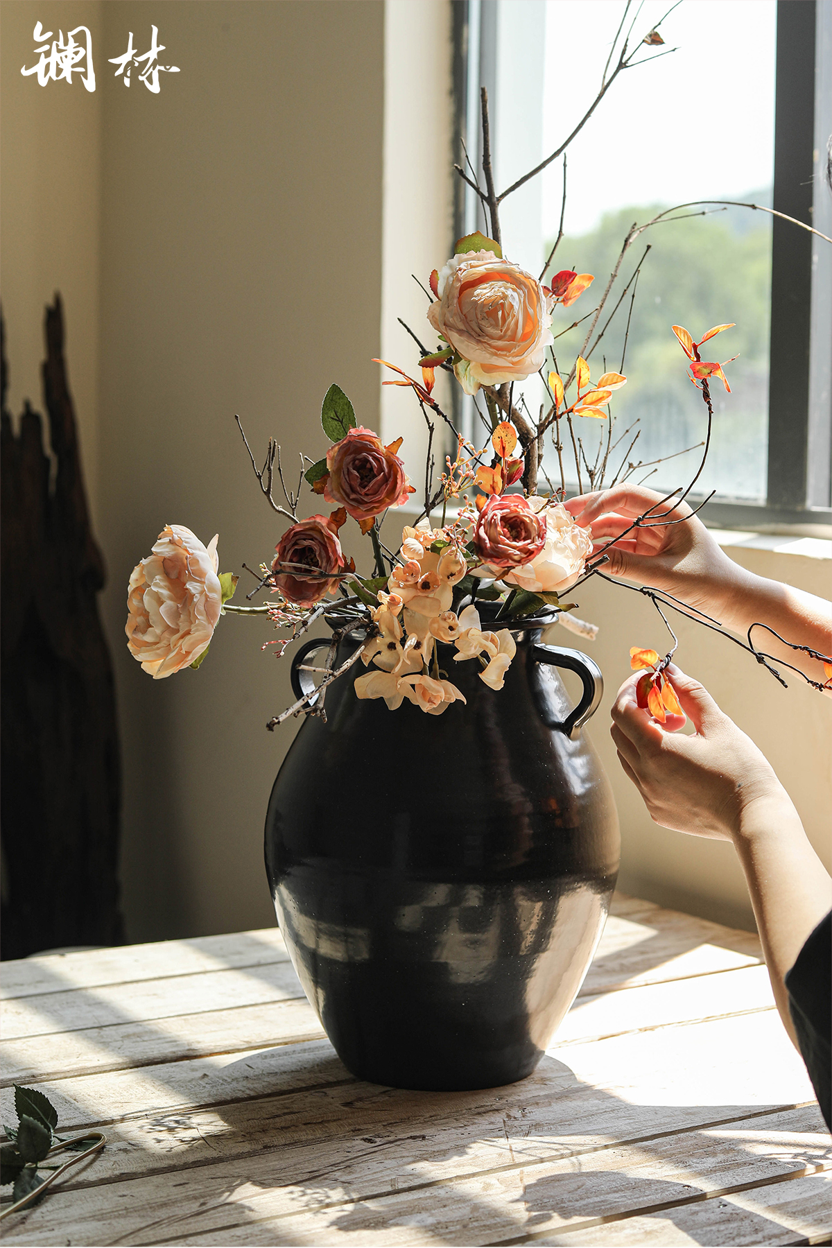 The Vases, ceramic art design style restoring ancient ways pottery flower arranging dried flower pot flower bed indoor decoration of a home stay facility furnishing articles