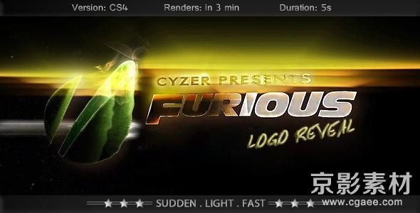 AE模板-震撼质感logo快速能量演绎片头 Furious Logo–Fast Powerful Simple Reveal