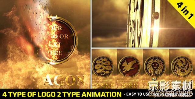 AE模板-震撼史诗火焰Logo标志演绎片头 Fire Logo Reveal