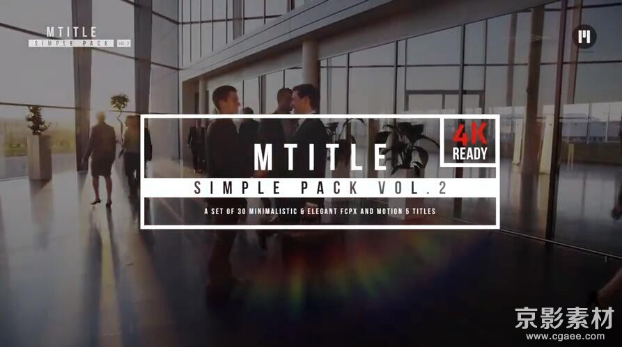 FCPX插件-MotionVFX mTitle Simple Pack v2-30种商务简洁文字标题动画Final Cut Pro X 插件
