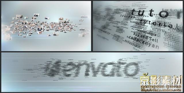 AE模板-多个视频图片文字汇聚成logo演绎片头Multi Video & Multi Text Logo Formation