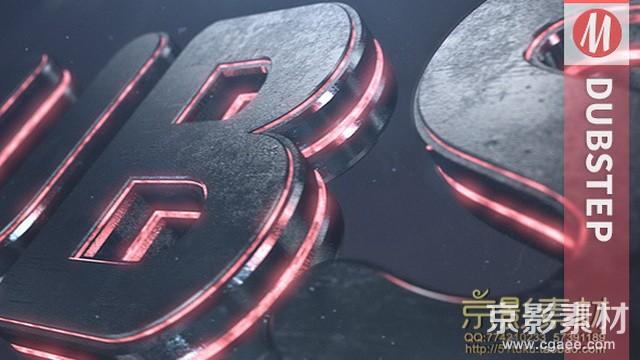 AE模板-震撼三维金属质感电影logo展示片头Dubstep Element 3D Logo Reveal