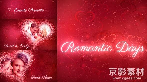 AE模板-浪漫花心爱情相册动画片头 Romantic Days