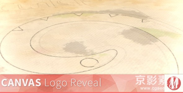 AE模板-铅笔描边水彩映衬Logo演绎片头 Canvas-Pencil and Watercolor Logo Reveal