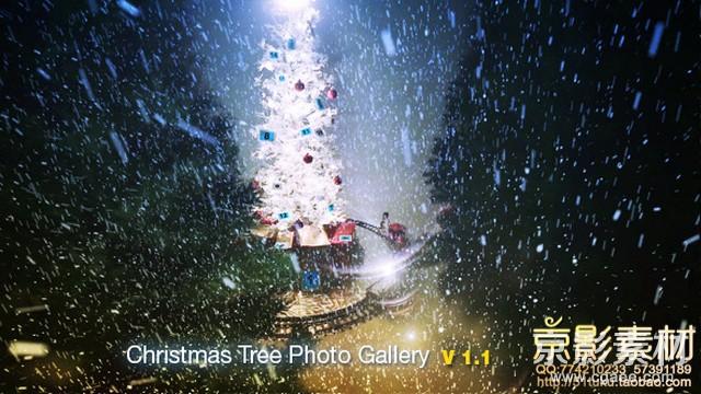 AE模板-大雪纷飞圣诞树展示片头 Christmas Tree Photo Gallery