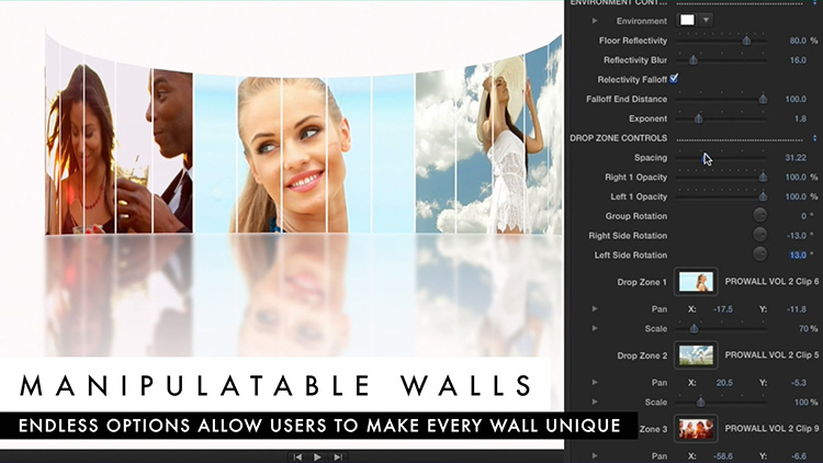 FCPX插件 ProWall 2-动感多画面三维视频墙特效Final Cut Pro X 插件