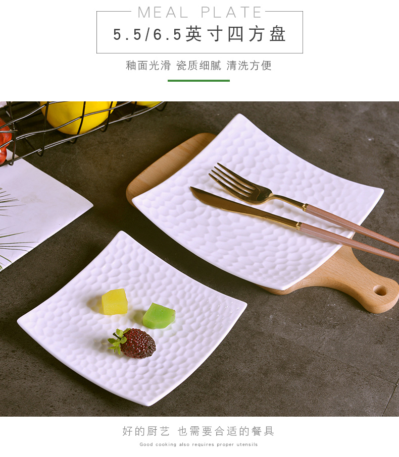 Creative ipads China relief triangle plate household contracted ceramic dinner plate European fruit salad dessert four square plate