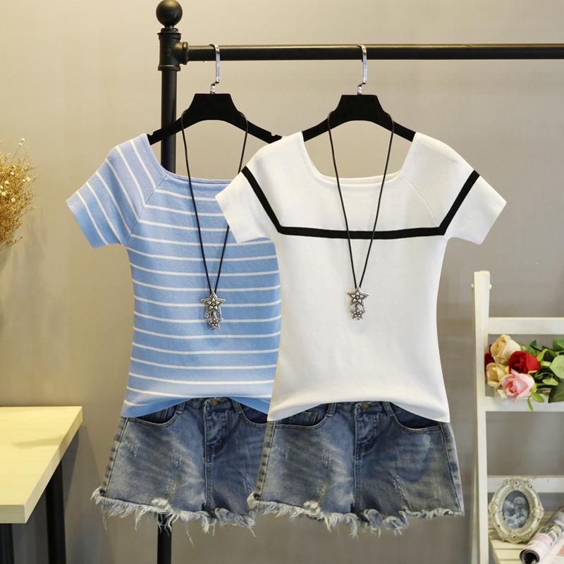 2019夏季冰丝上衣修身短款打底衫一字领条纹薄款短袖针织衫T恤女