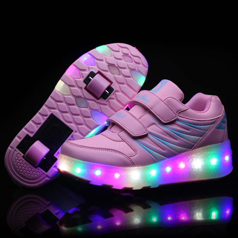 Child Glowing Sneakers Light Shoes Wheels Kids Sports Shoes