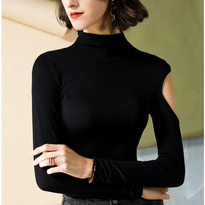 Latin dance tops ballroom dance top modern dance costume long sleeve high collar single arm training dress female dance dress slim top