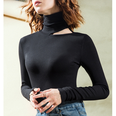 Latin dance tops ballroom dance top long sleeve hollowed out collar collar bone exposed dance self-cultivation training clothes bottoming shirt Modern Dance Top
