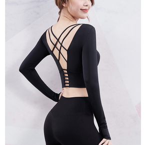 Latin dance tops ballroom dance top Dress open back long sleeve women top open finger dance sports short waist practice dance dress with breast pad