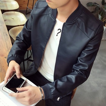 2020 spring new men's casual leather motorcycle suit jacket Slim Korean version of the Spring and Autumn tide handsome jacket