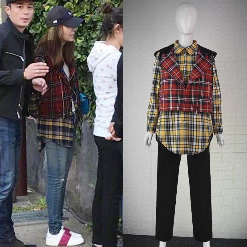 林心如霍建华日本游玩同款中长款格子衬衫红色连帽马甲套装10157