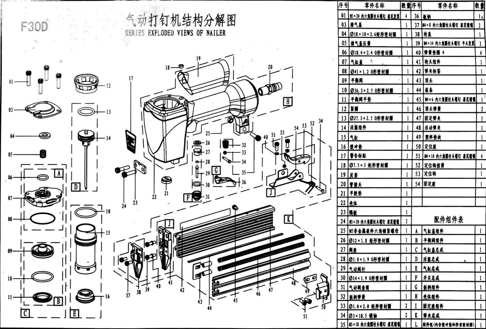 Công cụ khí nén Zhongjie Zhongjie F30D Máy làm đinh hơi nước / Kim / Rãnh súng / Vòng đệm / Phụ kiện súng hơi - Công cụ điện khí nén