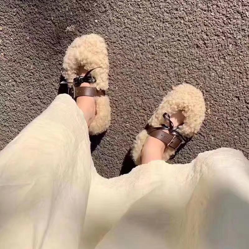 网红13C同款毛毛鞋女2019秋新款Mona同款羊卷毛皮带扣平底懒人鞋