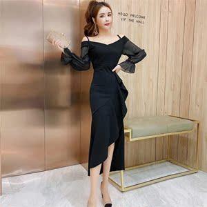 YF23396# 黑色晚礼服裙平时可穿宴会气质名媛吊带连衣裙气场女王