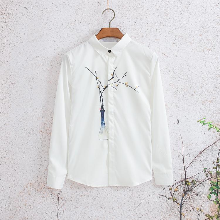 哥雷森中国风复古花瓶印花长袖衬衫韩版潮男修身打底衫很仙的衬衣