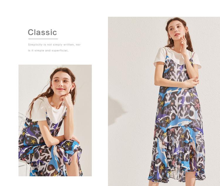 商场同款秋水伊人裙新款女装2019夏装吊带T恤连衣裙