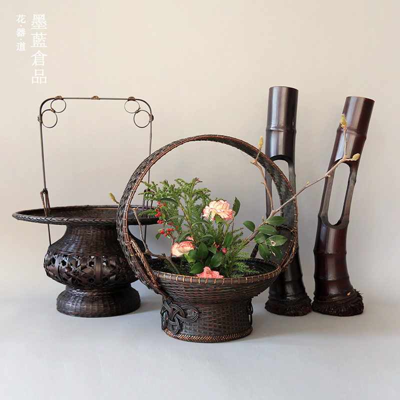 ChinaHao.com & Chinese floral retro bamboo Flower Basket flower Zen Italian antique Chinese flower pots Japanese flower bamboo basket
