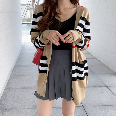 Missni 2021 Spring Classic Striped Strip V-Terminal Long Wool Knit Cardigate Loose Sweater Jacket
