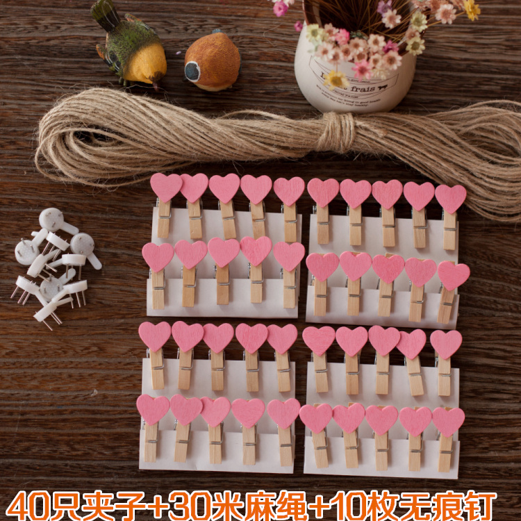 Розовый Сердце 40 только + веревочная веревка 30 метров + гвоздь 10