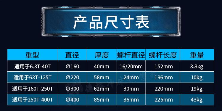 产品尺寸表