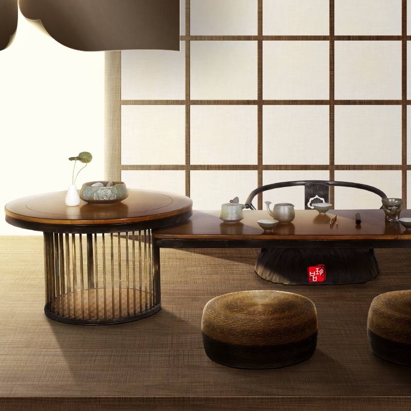 Japanese tatami solid wood floating window short tea table living room creative simple antique home new Chinese Zen tea table