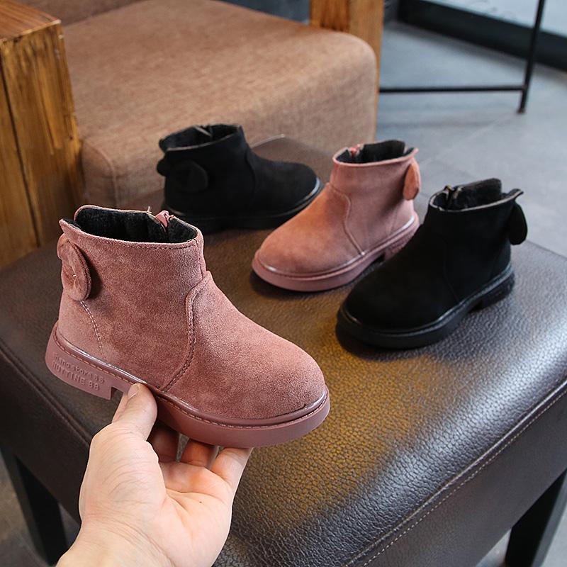 2018冬季新款儿童时尚短靴子韩版女童百搭后跟蝴蝶结保暖雪地靴潮