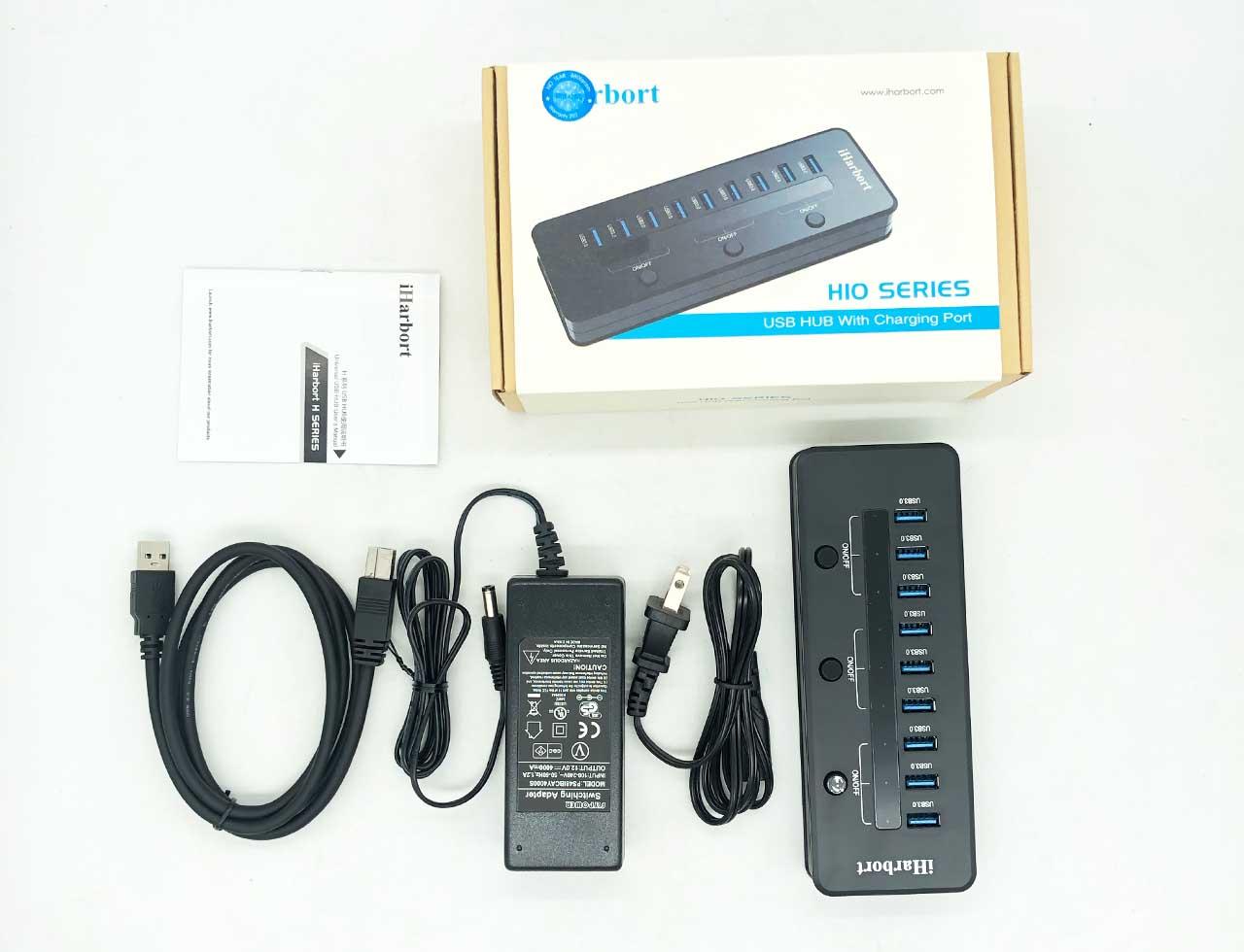 拆解iharbort 10口高5Gb/s USB3.0拓展器 带12V 4A电源 LED指示灯集线器 VIA VL812-Q7芯片组 分线器 1.2延长线