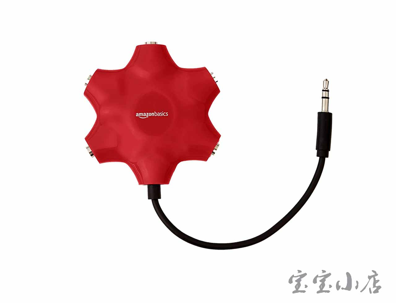 AmazonBasics亚马逊倍思AUX TO 3.5mm耳机一拖五转接器头 5-Way Multi Headphone Audio Splitter Connector, Red