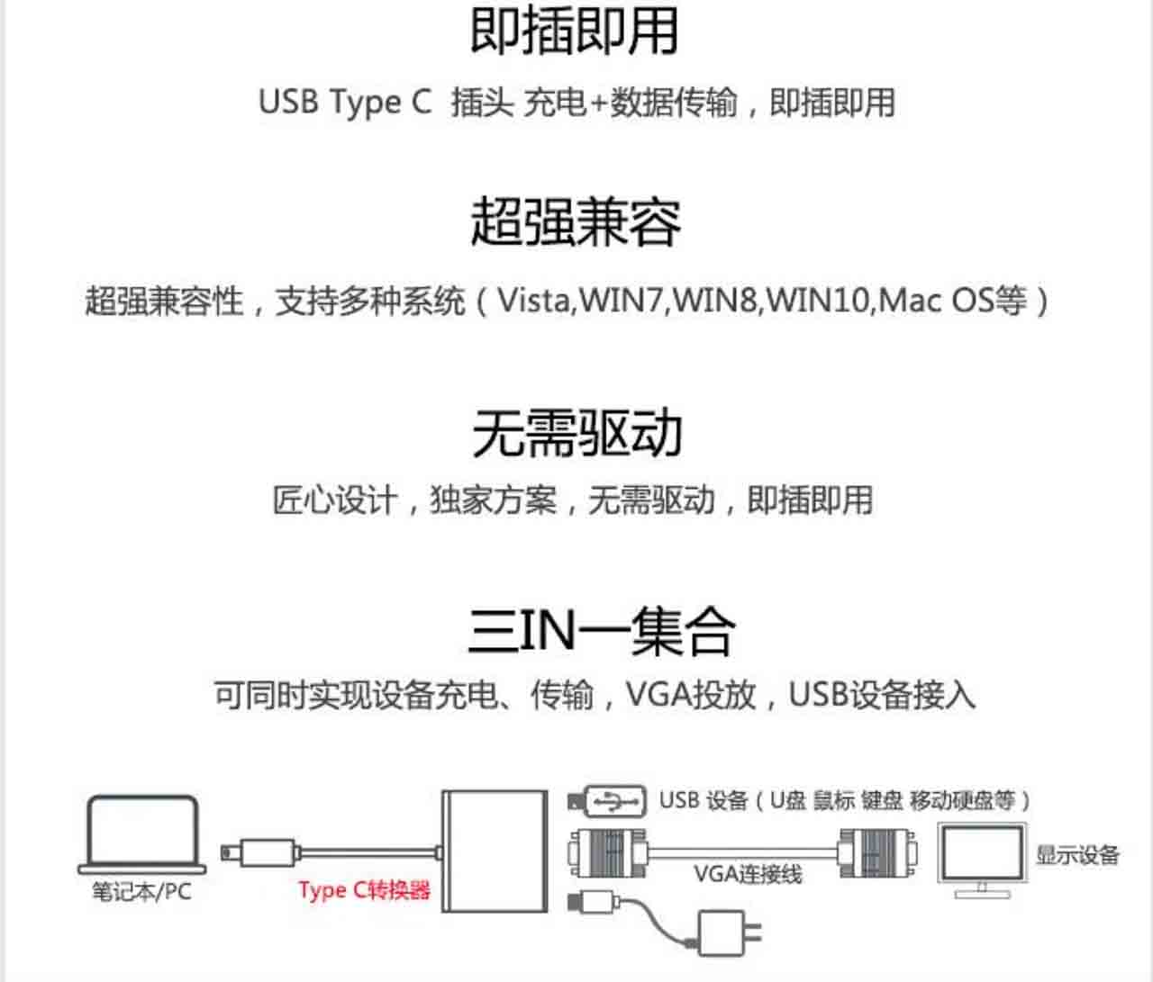 亚马逊倍思Type c转USB转接头USBC转VGA拓展坞转换器USB3.1雷电AmazonBasics USB 3.1 Type-C VGA Multiport Adapter