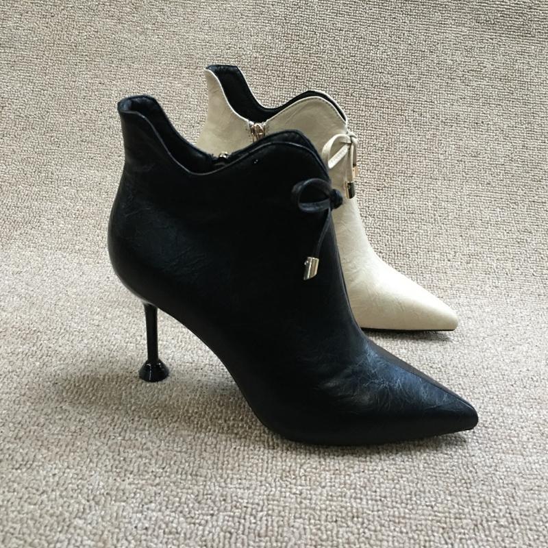 断码处理女鞋2018冬款时尚优雅蝴蝶结尖头细高跟气质百搭及踝靴