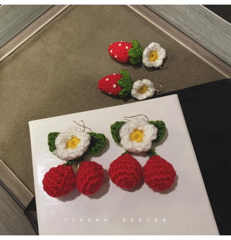 sppgge ONE~Tyusha質感好敲可愛/獨家純手編針織毛線耳夾草莓櫻桃14K包金耳環