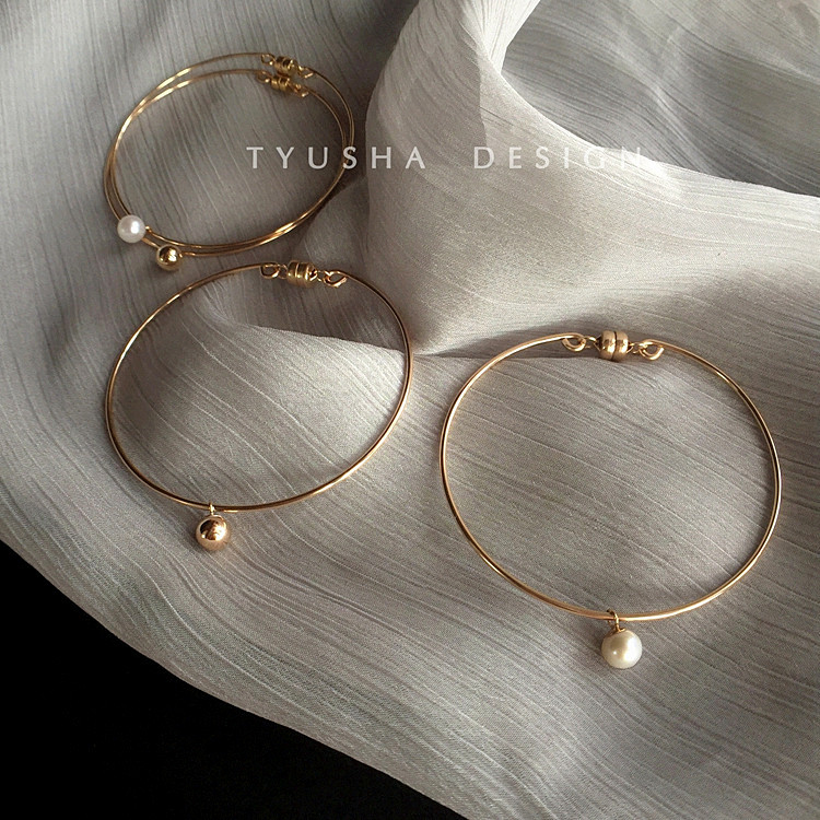 54d42acf503 TYUSHA United States 14k gold bracelet female minority design cool wind  pearl simple K gold bracelet female very fine