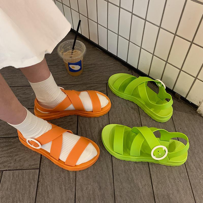中國代購|中國批發-ibuy99|凉鞋搭扣黑色经典凉拖2020新款夏季外穿酷帅气凉鞋女学院风ins潮