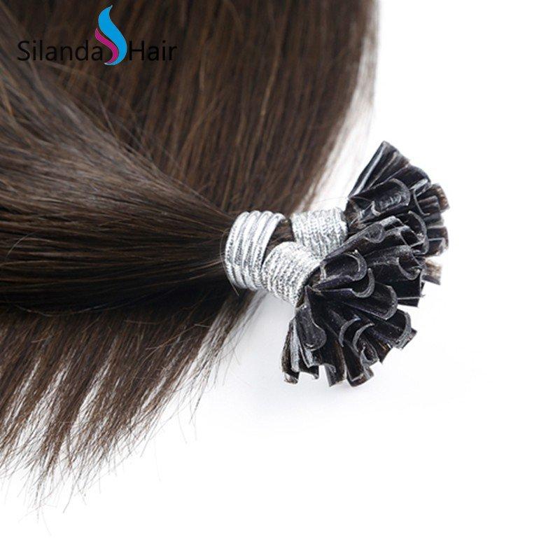 Silanda Hair #2 Straight Remy Nail Tip U Tip Keratin Human Hair Extensions