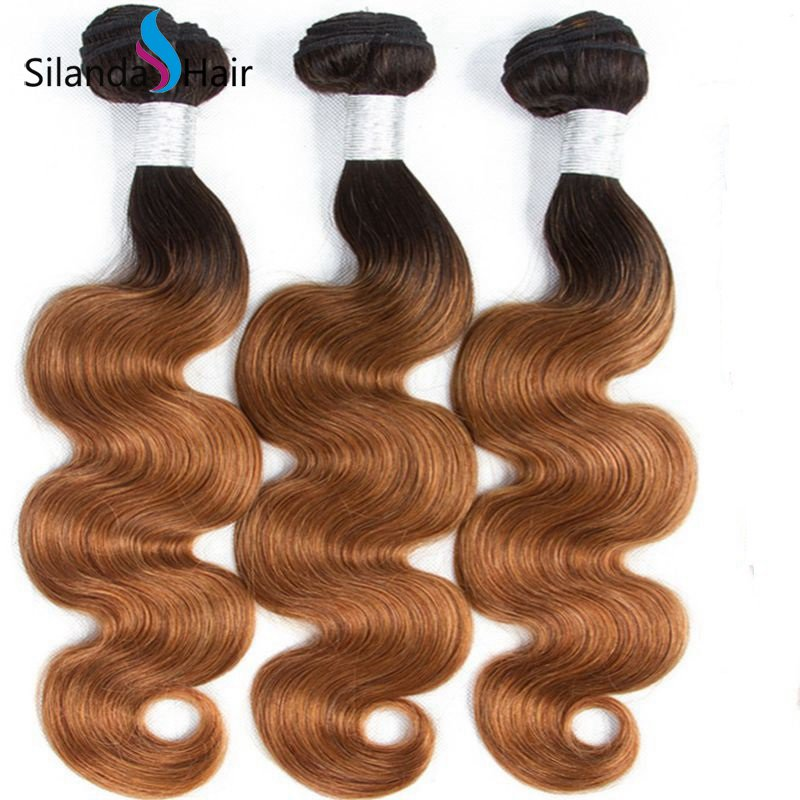 Silanda Loose Wave Bundles Ombre Color #T 1B/30 Wave Extensions Hair Weft 3 Bundles/Pack