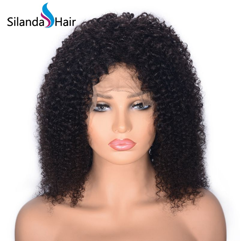 Silanda Hair Fashion 14 Inch Natural Color Kinky Curly Brazilian Remy Human Hair Lace Front Full Lace Wigs