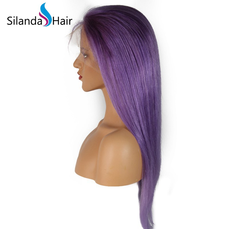 Silanda Hair Top Quality Pure Purple Straight Brazilian Remy Human Hair Lace Front Full Lace Wigs