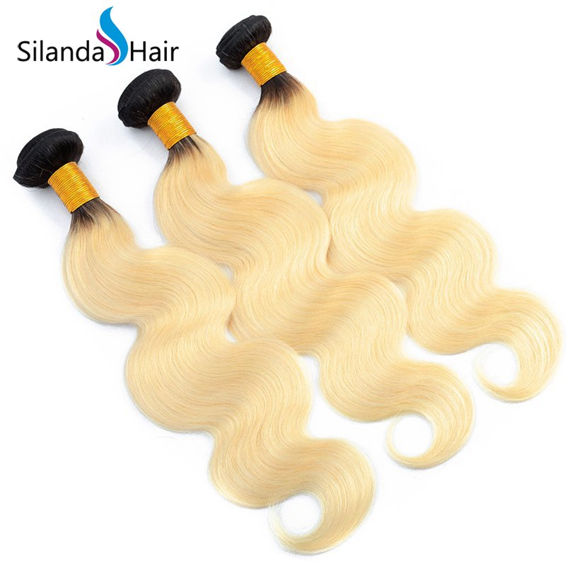 Silanda #T 1B/613 Body Wave Bundles Human Hair Extensions 3 Bundles/Pack XTHW-38