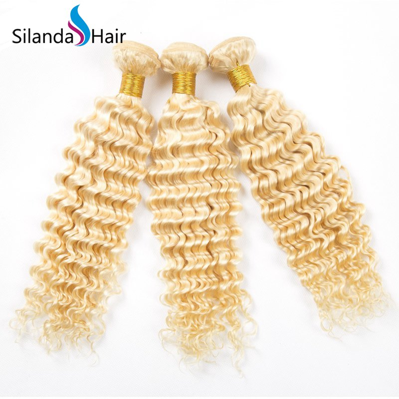 Blonde #613 Hair Weaving Deep Wave Remy Human Hair Bundle Deals 3 PCS/Pack XTHW-35