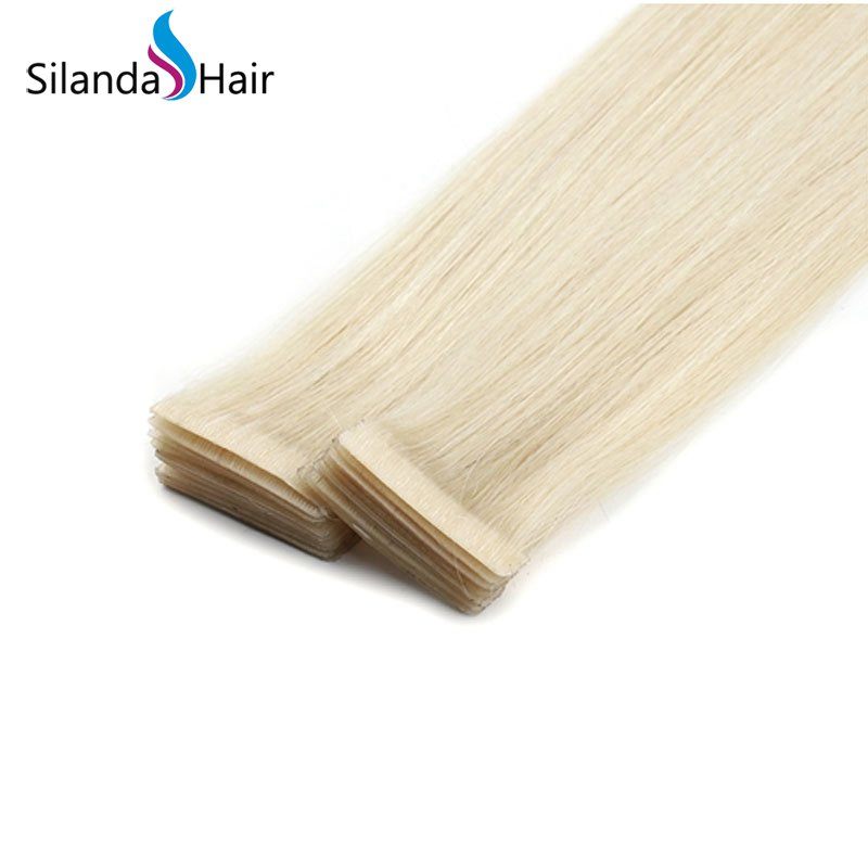 Silanda Hair #613 Straight PU Skin Weft Hand Tied Tape In Adhesives