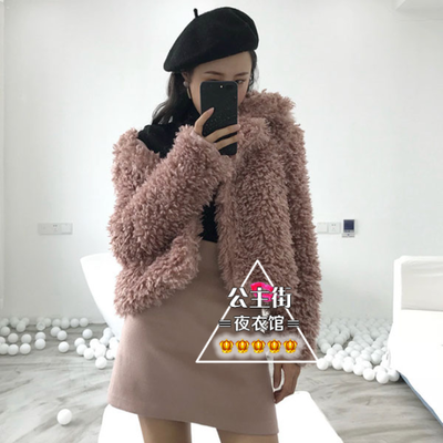 2017 winter new ladies temperament lapel solid color long-sleeved loose wild short paragraph thick thin jacket Women