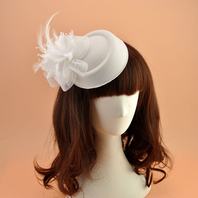 Wedding Party Hats Bride Vintage woolen hat netting flower headdress festival performance stage hairpin